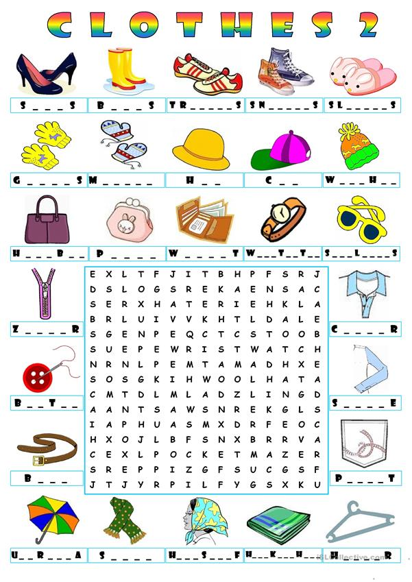 CLOTHES - WORDSEARCH 2
