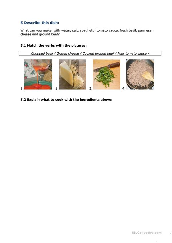 Cooking - Describing a process/cooking instructions