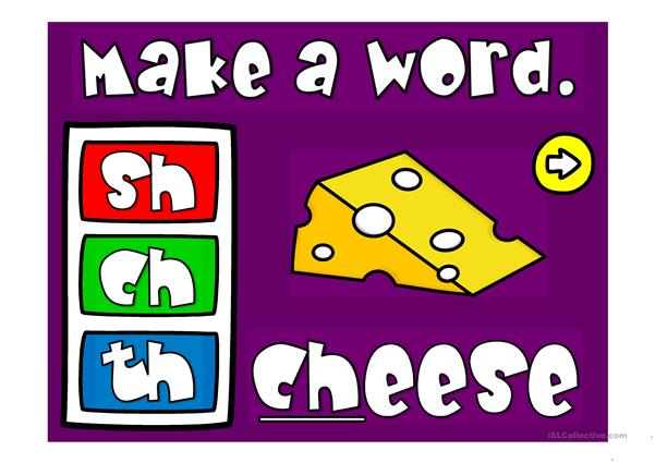 Make a word - digraphs sh, ch and th