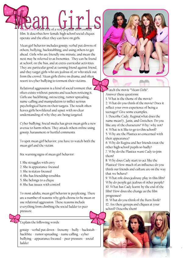 Mean Girls (text + questions for the film)