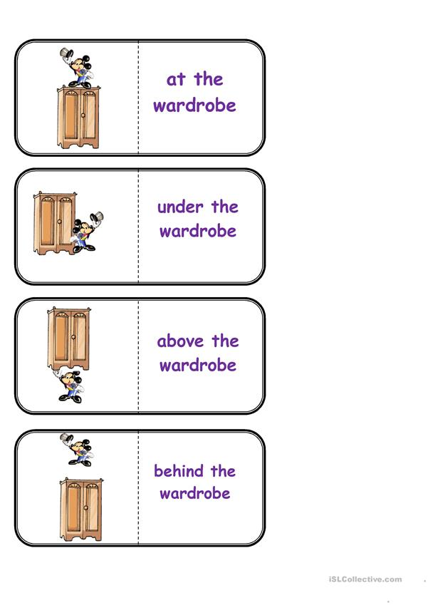 Prepositions of place, domino