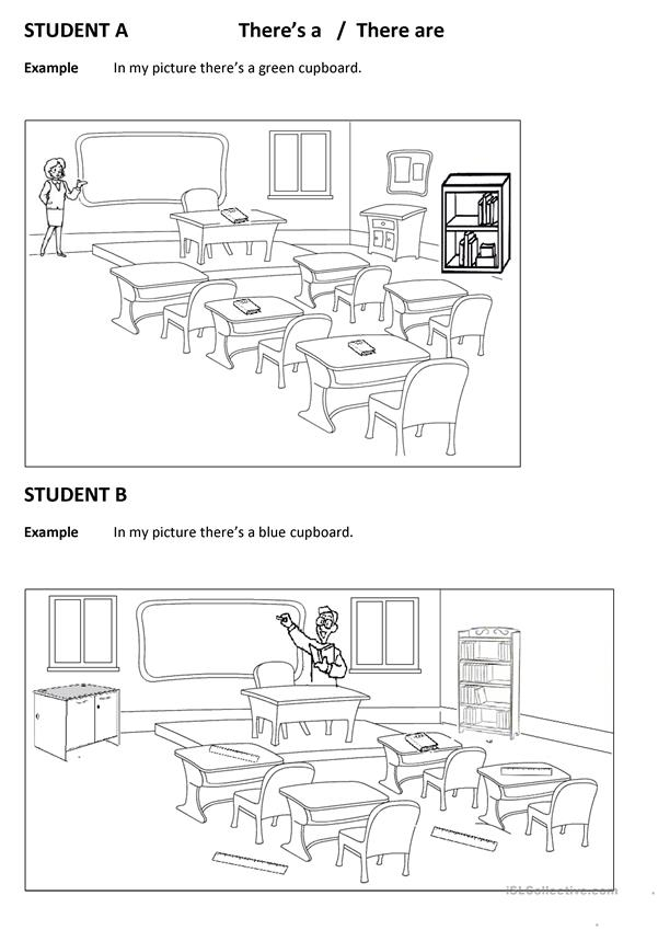 Spot the differences CLassroom (There is there are))
