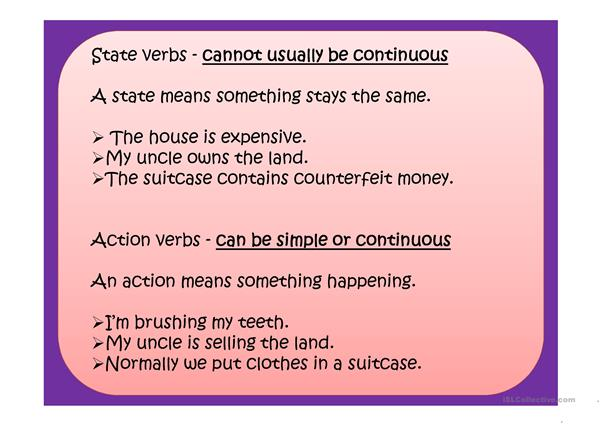 STATE & ACTION VERBS