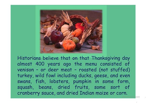 Thanksgiving Menu Then and Now