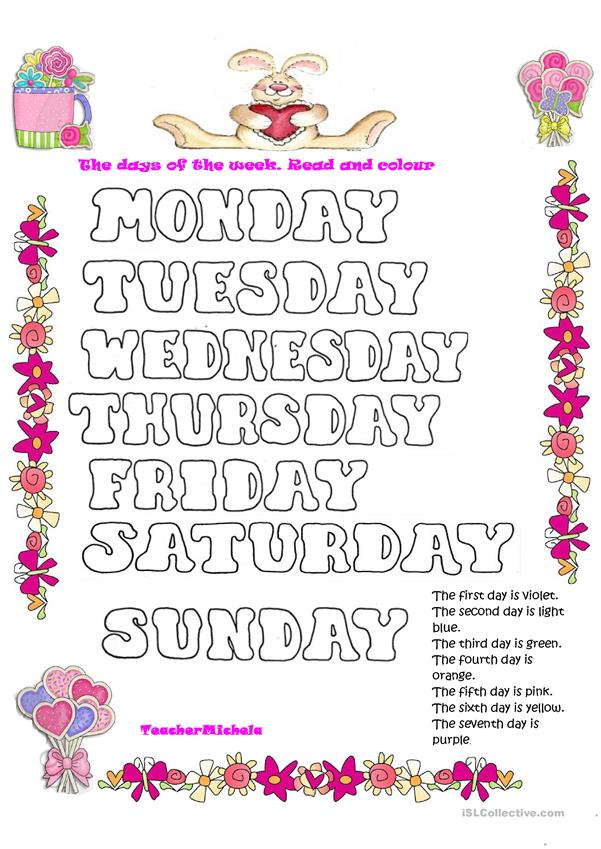 The days of the week. Read and colour