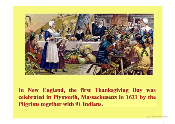 The History of Thanksgiving Day - English ESL Powerpoints for distance  learning and physical classrooms