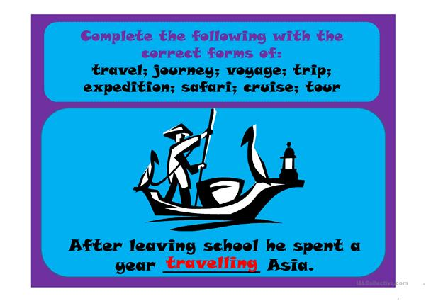 Travel, journey, cruise, voyage, trip