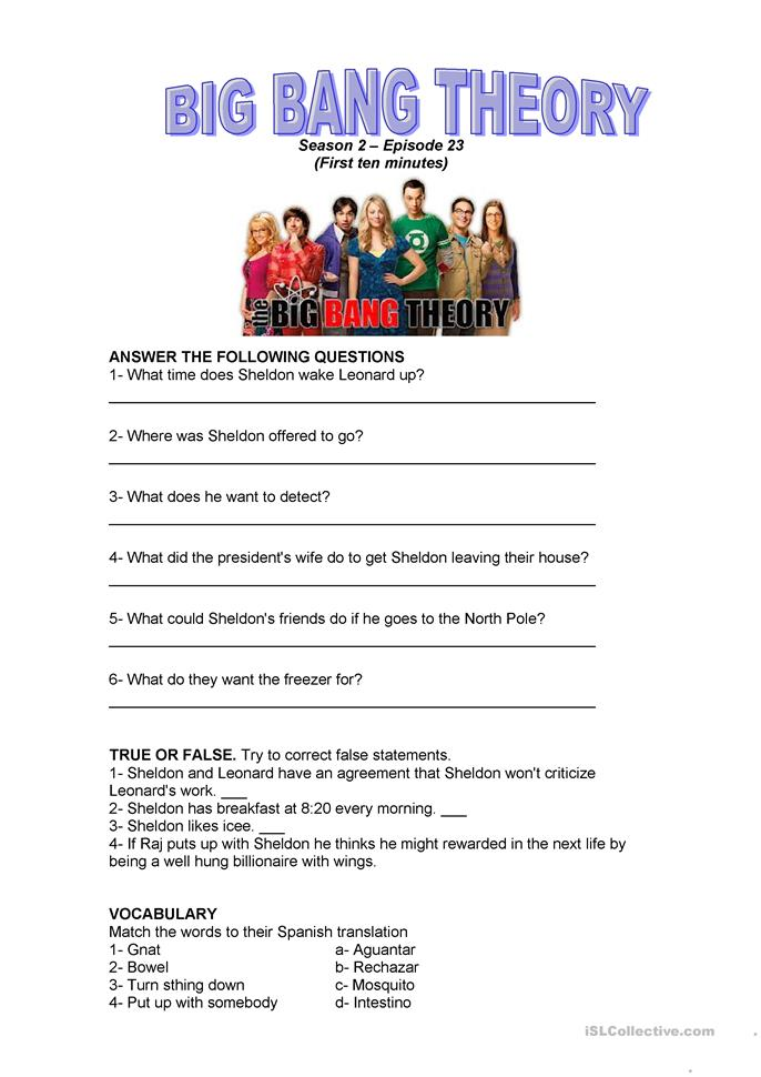 big bang theory 2x23 worksheet free esl printable worksheets made by teachers. Black Bedroom Furniture Sets. Home Design Ideas