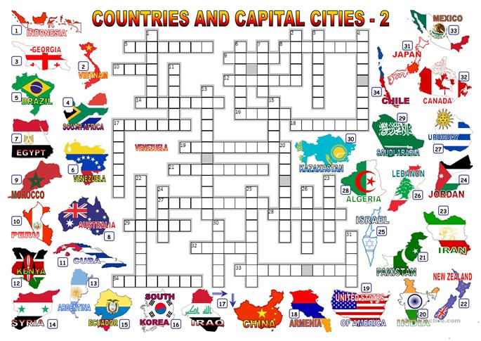 CAPITAL CITIES - CROSSWORD 2 - ESL worksheets