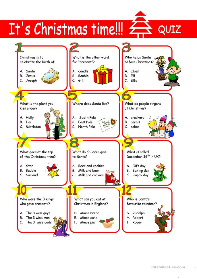 big_62602_christmas_quiz_1 Xmas Worksheets Esl on for advanced, family tree, daily routine, first conditional, question words, high intermediate, for beginners weeks, phrasal verbs, free newcomer,