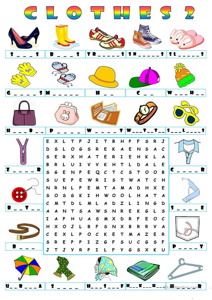 17 FREE ESL clothes wordsearch worksheets