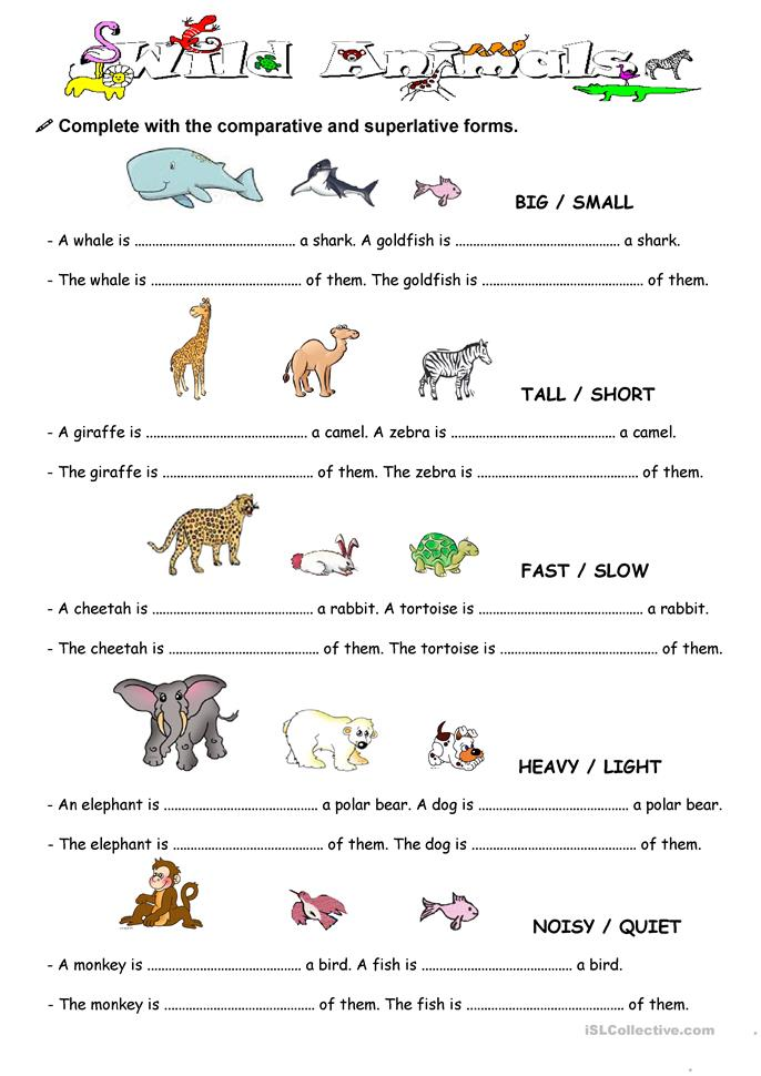 Comparison with animal worksheet - Free ESL printable worksheets made ...