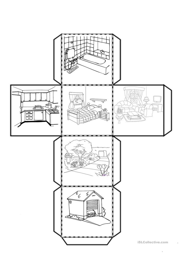 Rooms Worksheet: Cube With The Parts Of The House Worksheet