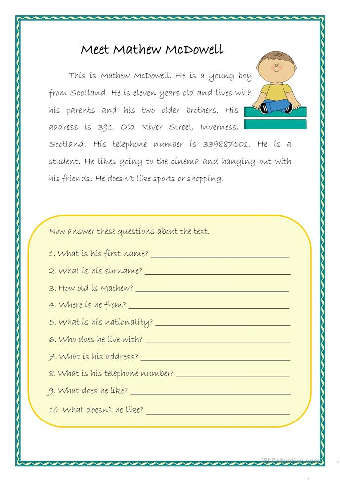 Easy reading-comprehension worksheet - Free ESL printable ...