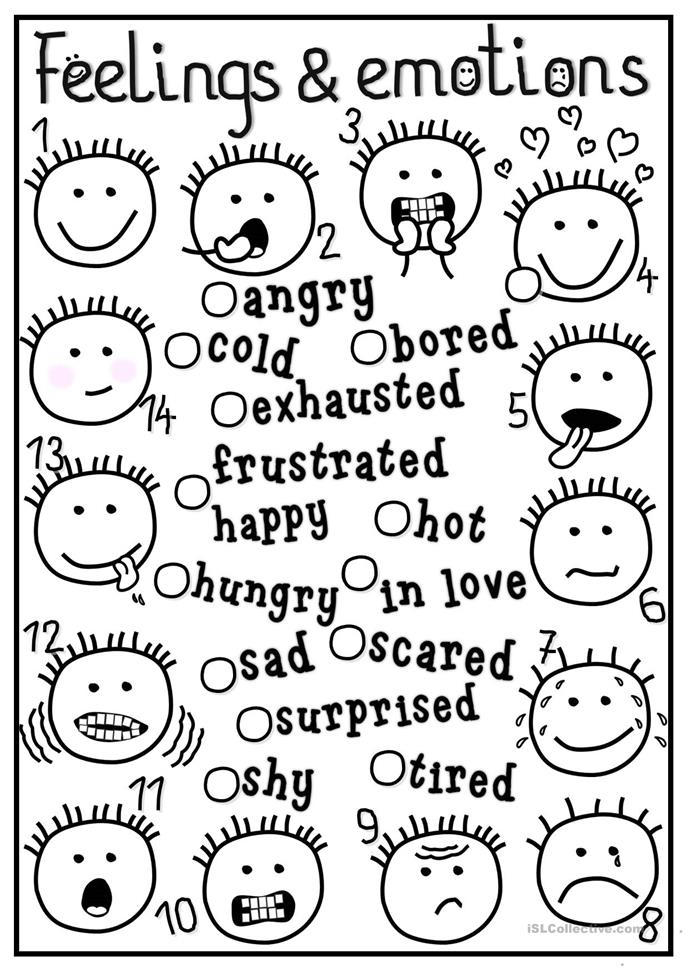 552 FREE ESL Feelings, emotions worksheets