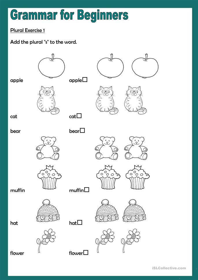 grammar for beginners plurals 2 worksheet free esl printable worksheets made by teachers. Black Bedroom Furniture Sets. Home Design Ideas