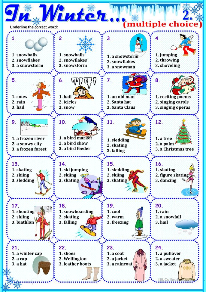 In Winter...2 - ESL worksheets