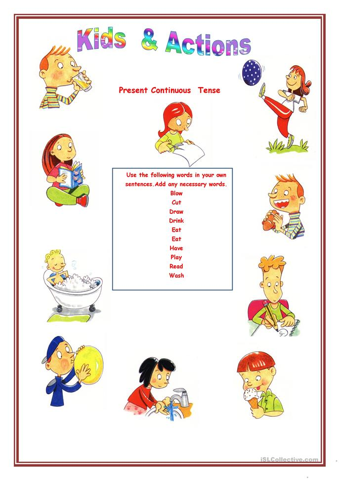 Kids & Actions worksheet - Free ESL printable worksheets ...
