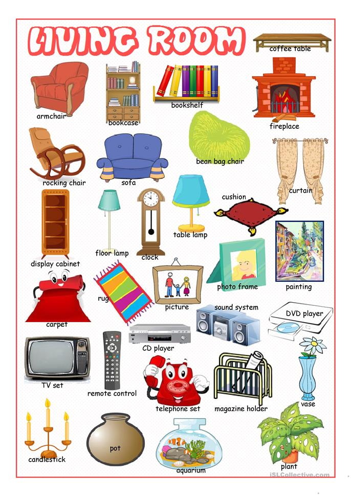 Living room picture dictionary worksheet free esl for Living room vocabulary