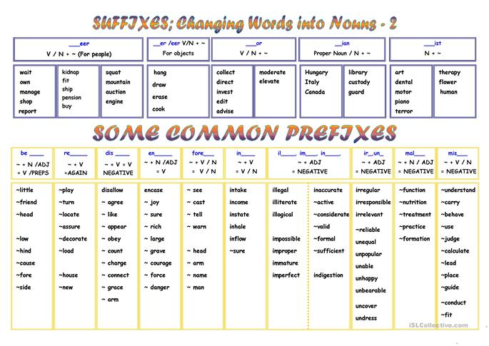 PREFIXES AND SUFFIXES worksheet - Free ESL printable worksheets made ...