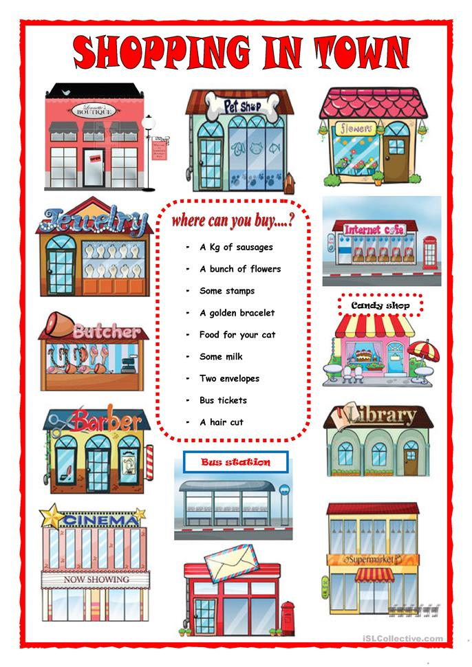 SHOPPING IN TOWN worksheet - Free ESL printable worksheets made by teachers