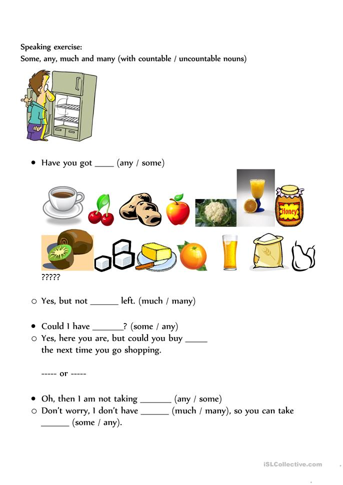 Speaking exercise some / any / much / many worksheet - Free ESL ...