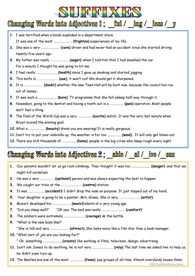 suffixes adjectives worksheet free esl printable worksheets made by teachers. Black Bedroom Furniture Sets. Home Design Ideas
