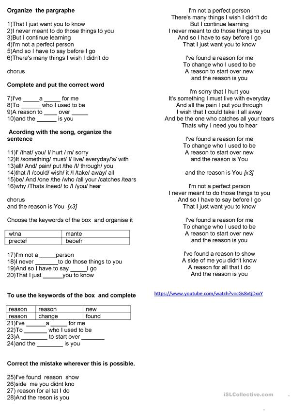Lyric Song Hoobastank The Reason English Esl Worksheets For Distance Learning And Physical Classrooms