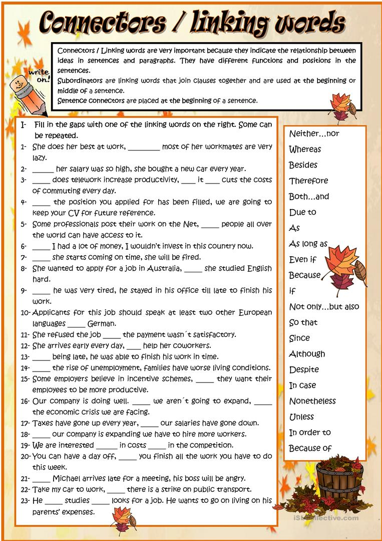 worksheet Worksheets On Connectors In English Grammar 53 free esl connectors worksheets linking words