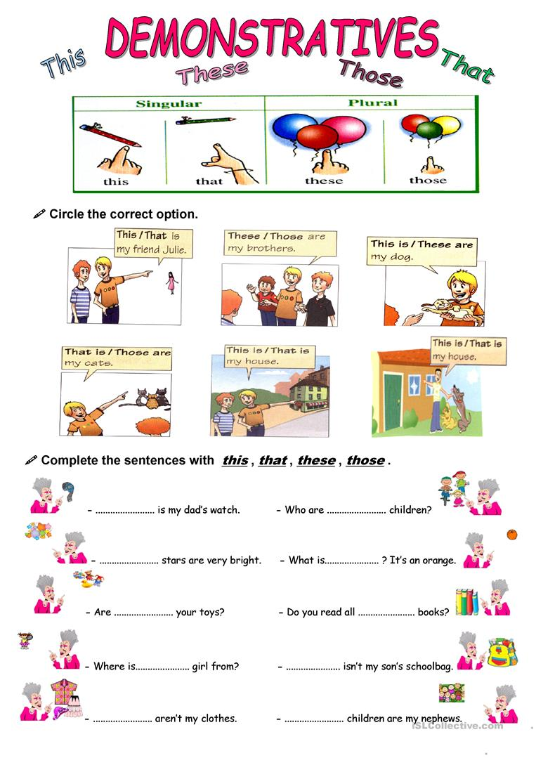 Demonstrative adjectives and pronouns worksheets pdf