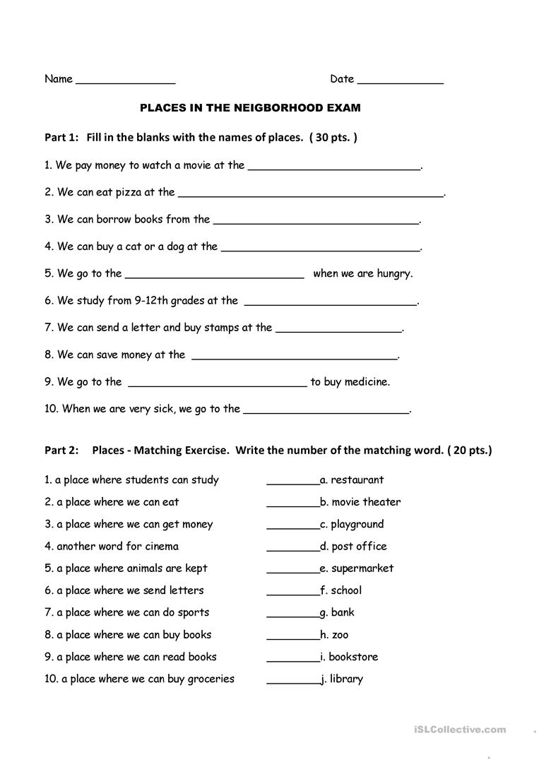 esl 1 exam places in the neighborhood worksheet free esl printable worksheets made by teachers. Black Bedroom Furniture Sets. Home Design Ideas