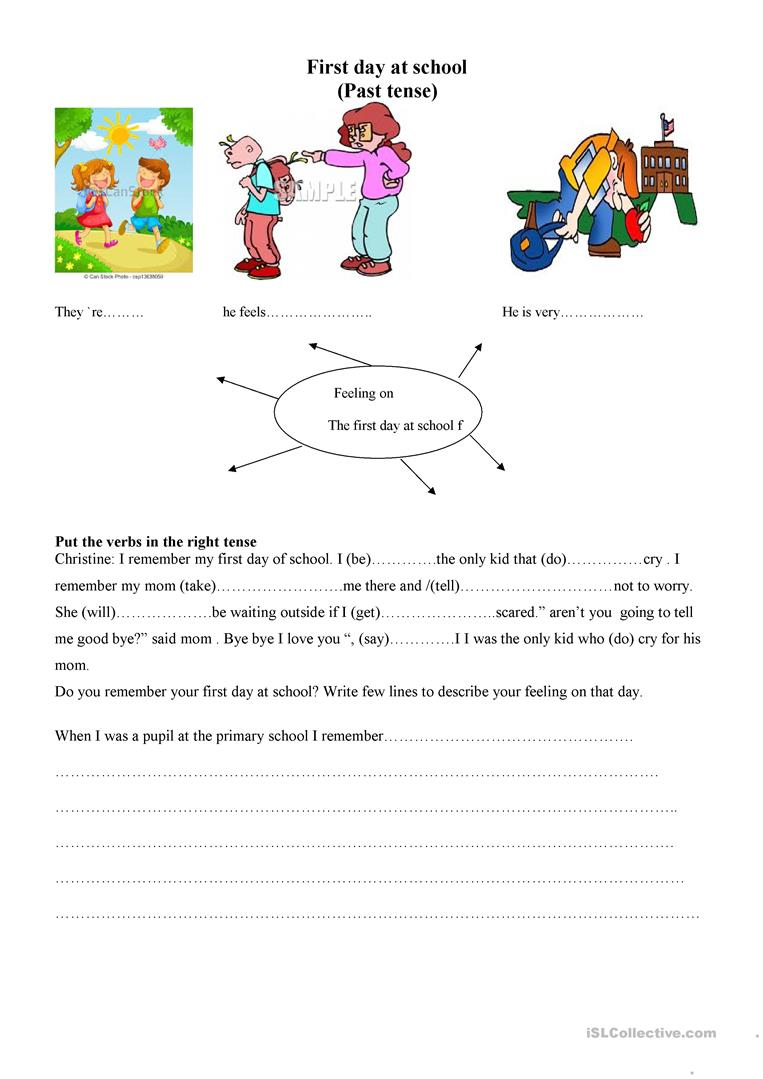 first day at school - English ESL Worksheets