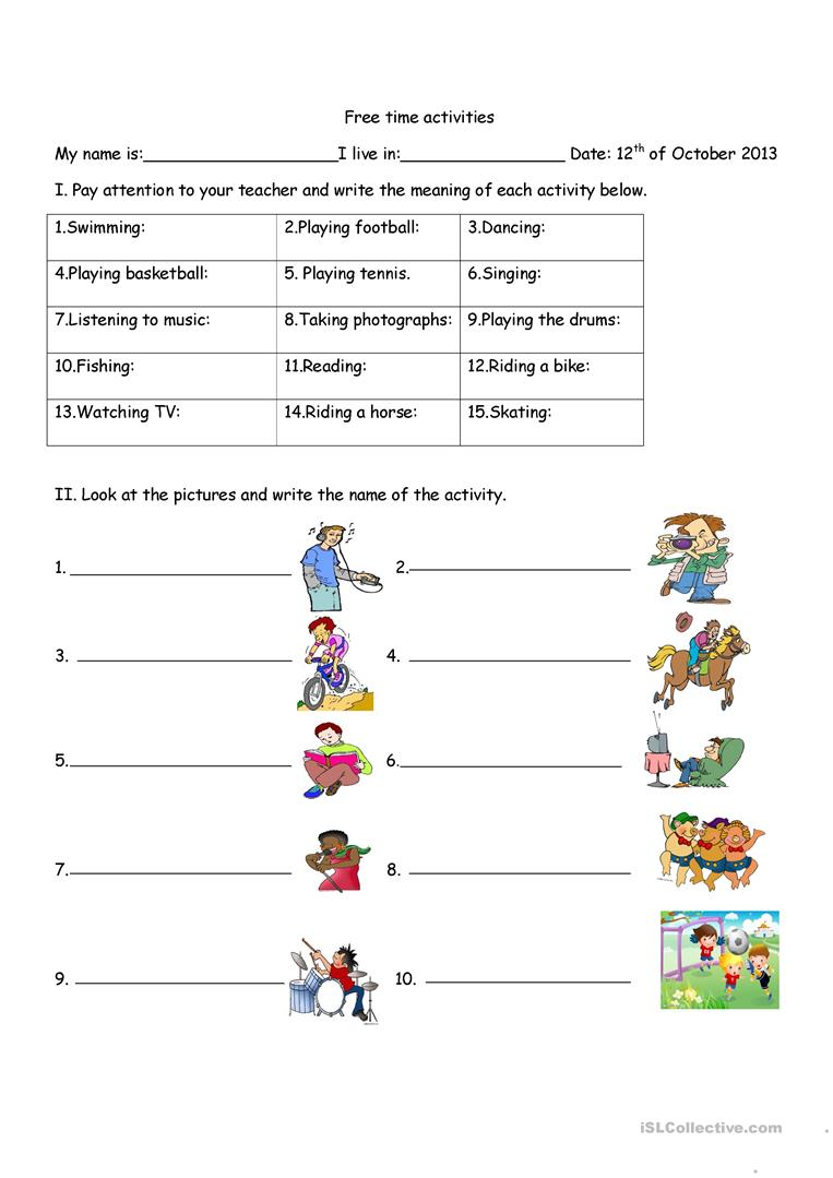 Free time activities - English ESL Worksheets for distance ...