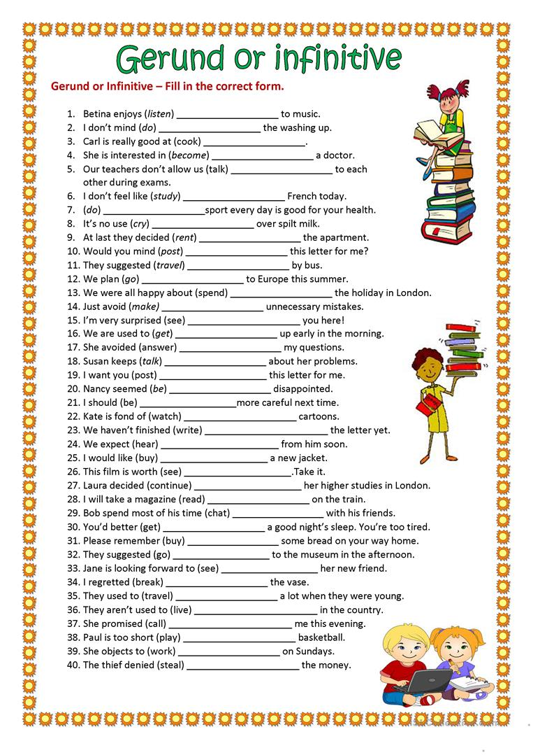 gerund or infinitive worksheet free esl printable worksheets made by teachers. Black Bedroom Furniture Sets. Home Design Ideas
