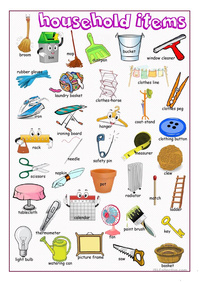household items dictionary worksheets esl vocabulary screen
