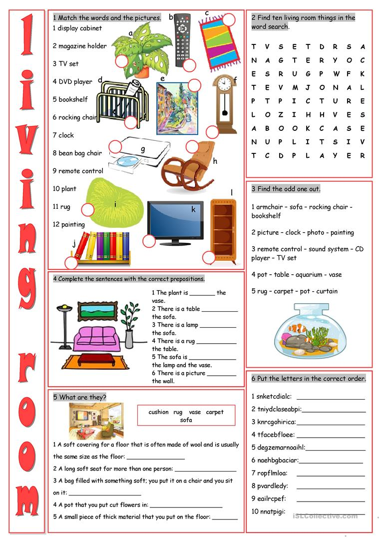Living Room Vocabulary Exercises - English ESL Worksheets for