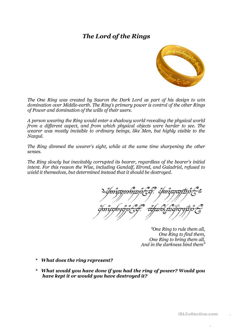 Lord of the Rings activity - English ESL Worksheets