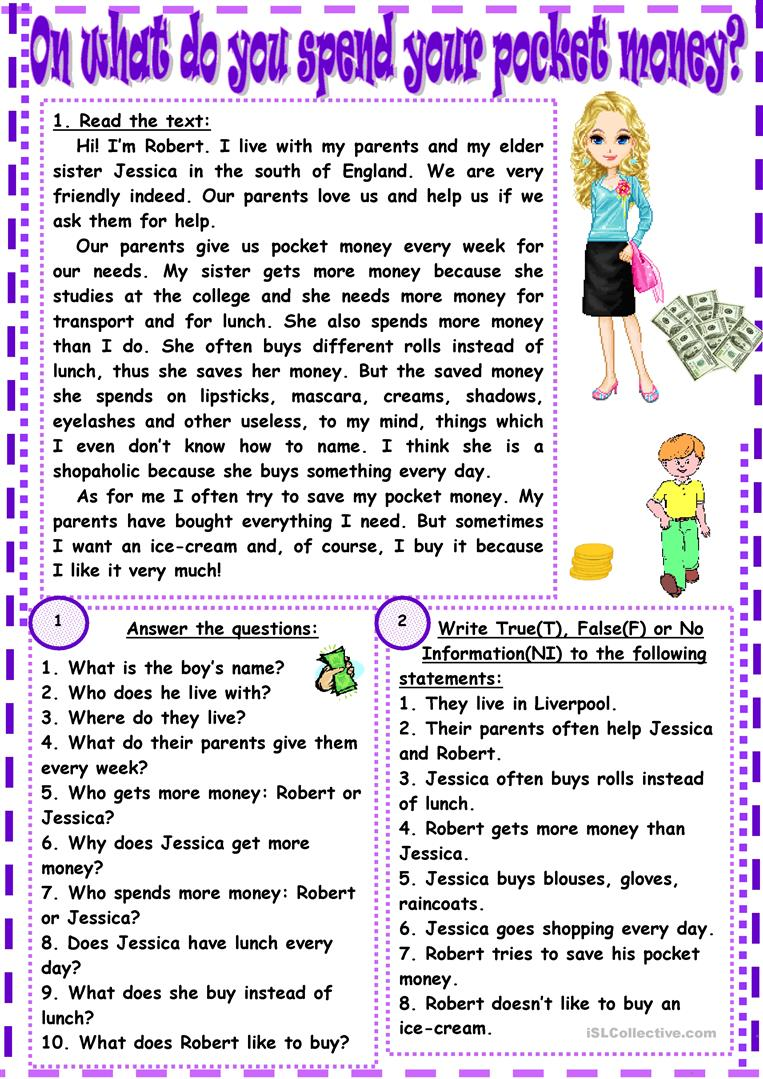 6 FREE ESL pocket money worksheets – Free Money Worksheets