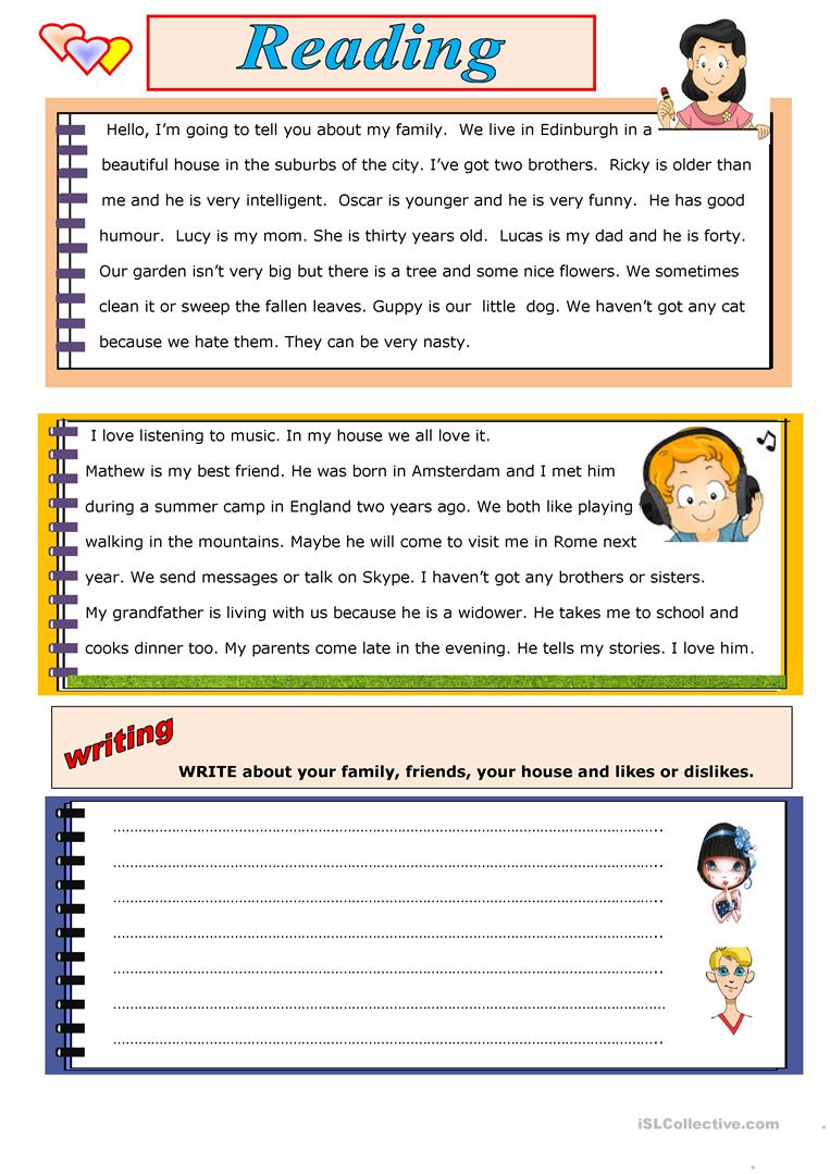 - READING AND WRITING - English ESL Worksheets For Distance Learning