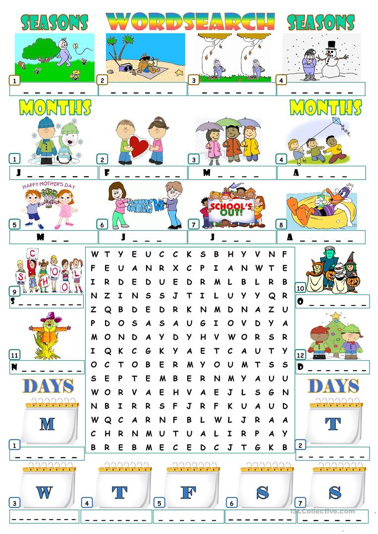 Worksheets Seasons Worksheets 191 free esl seasons worksheets months days wordsearch