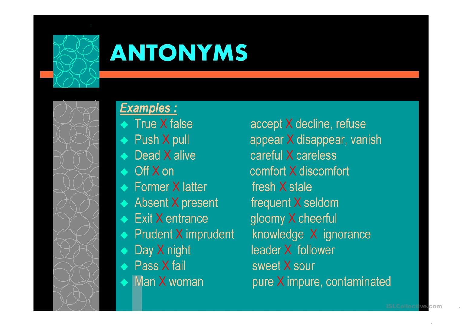 Synonyms and antonyms - English ESL Powerpoints