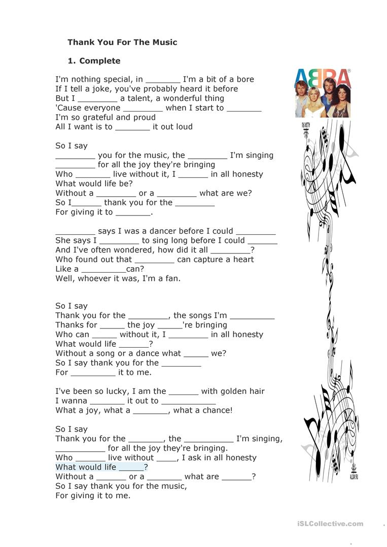 Thank You For The Music By Abba Worksheet Free Esl Printable