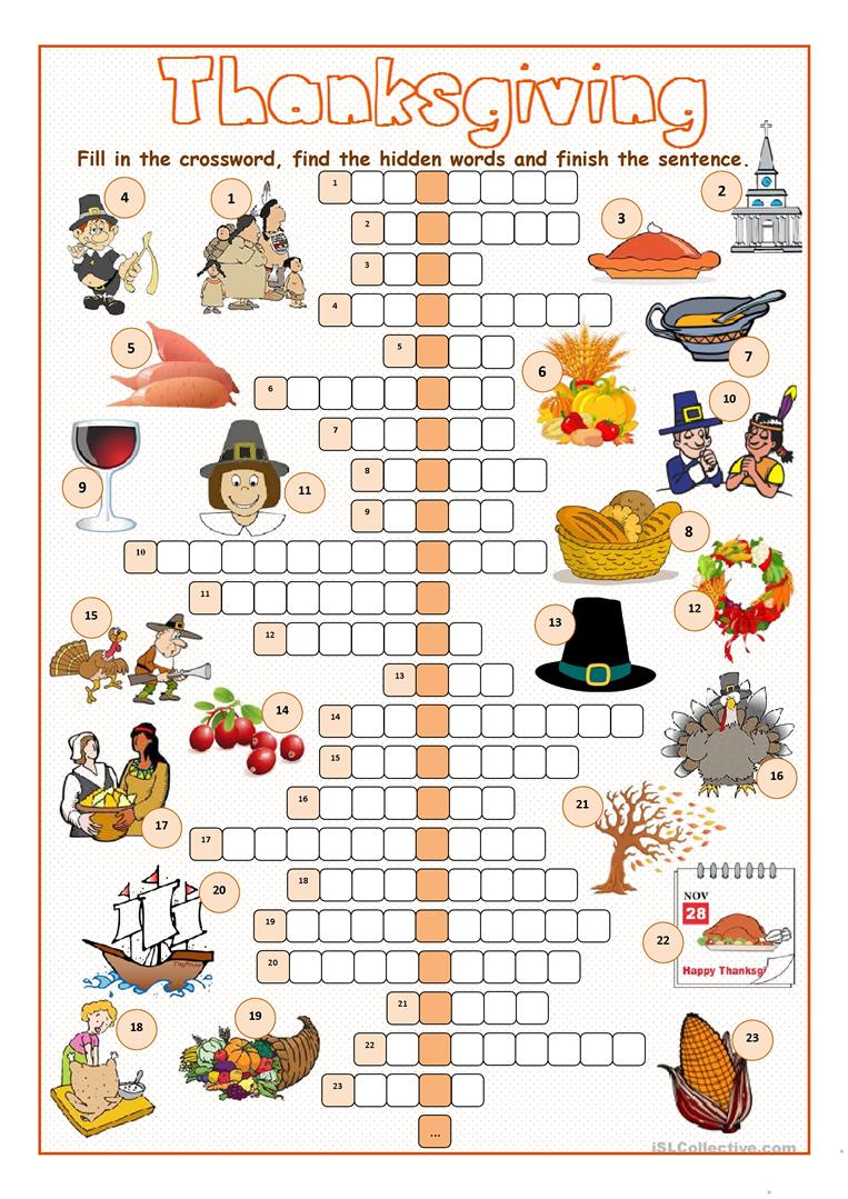 image about Thanksgiving Puzzles Printable identified as Thanksgiving Crossword Puzzle - English ESL Worksheets