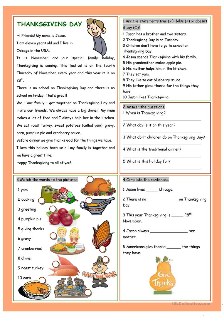 Worksheets Thanksgiving Worksheet 124 free esl thanksgiving worksheets day