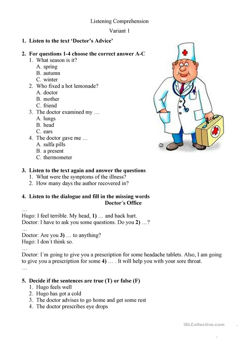 THE DOCTOR'S VISIT   English ESL Worksheets for distance learning ...