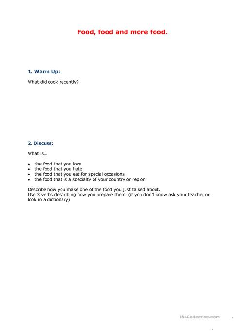 Cooking Describing A Processcooking Instructions Worksheet Free