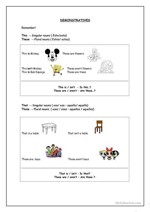 Demonstratives Esl Spanish Worksheet Free Esl Printable