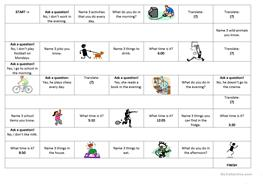 English Esl Boardgame Game Present Simple Present Continuous Sports Worksheets Most Downloaded 1 Result