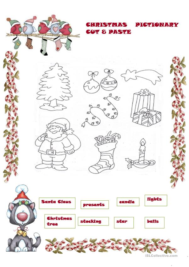 Christmas pictionary cut&paste