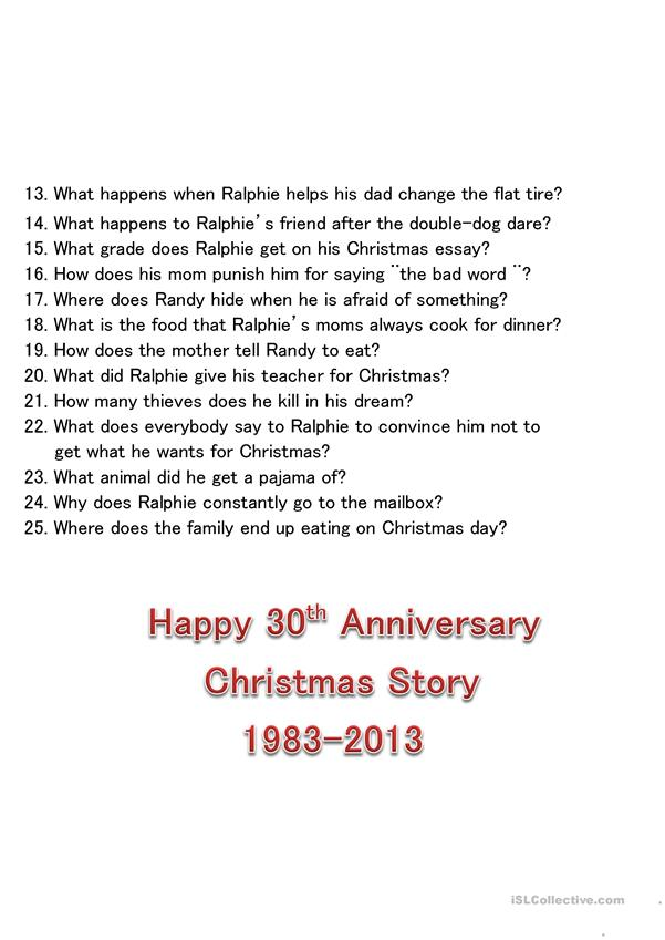 photo regarding A Christmas Story Trivia Questions and Answers Printable known as Xmas Tale Video clip Trivia Quiz - English ESL Worksheets